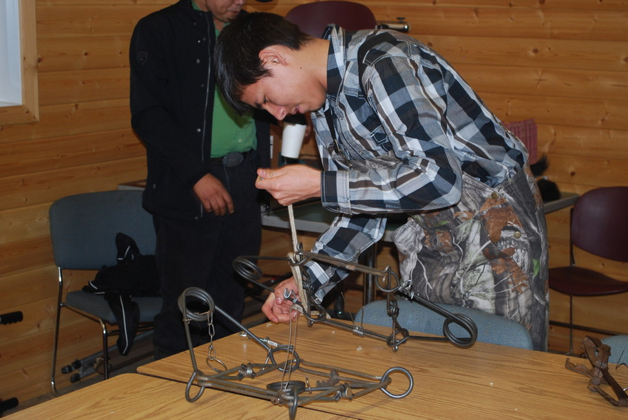 Blake Muskwa, Grade 12, Little Buffalo School, Learning how to set up a trap.