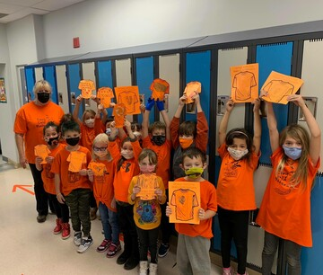 Grade 2 students at Anzac School increasing awareness by participating in Orange Shirt Day